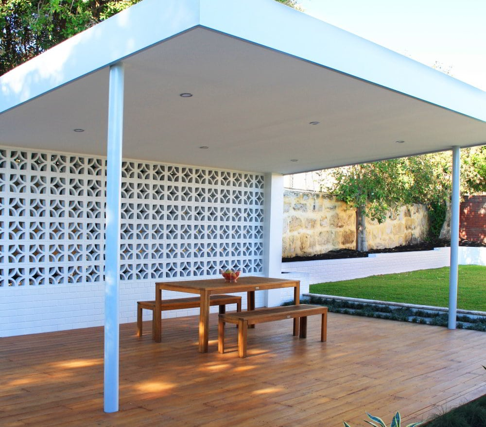 Custom built pergola with landscaping to suit the outdoor area