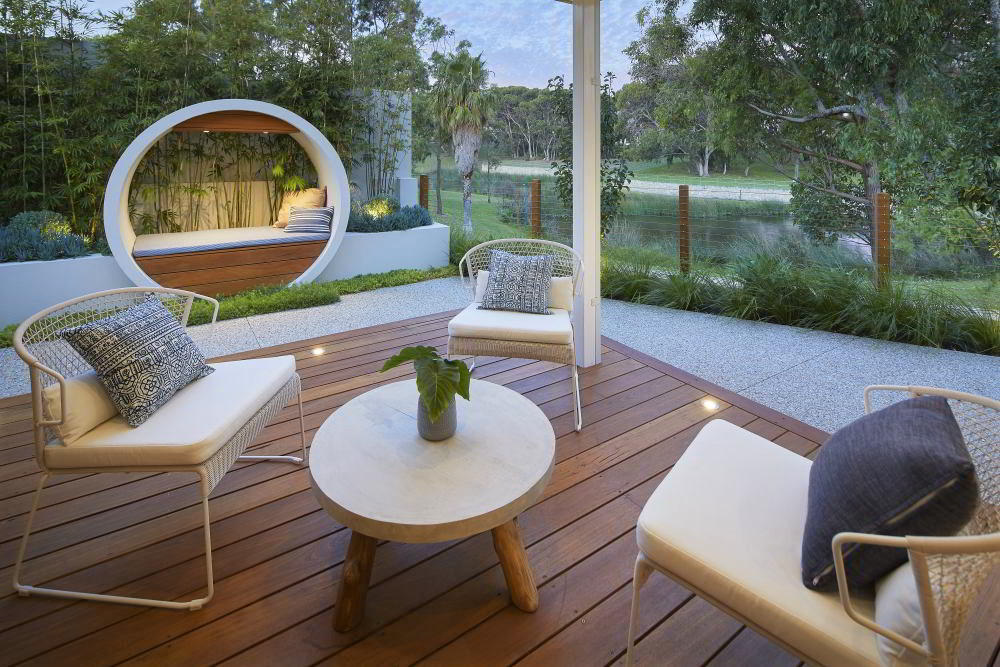 custom seating and composite decking for alfresco area