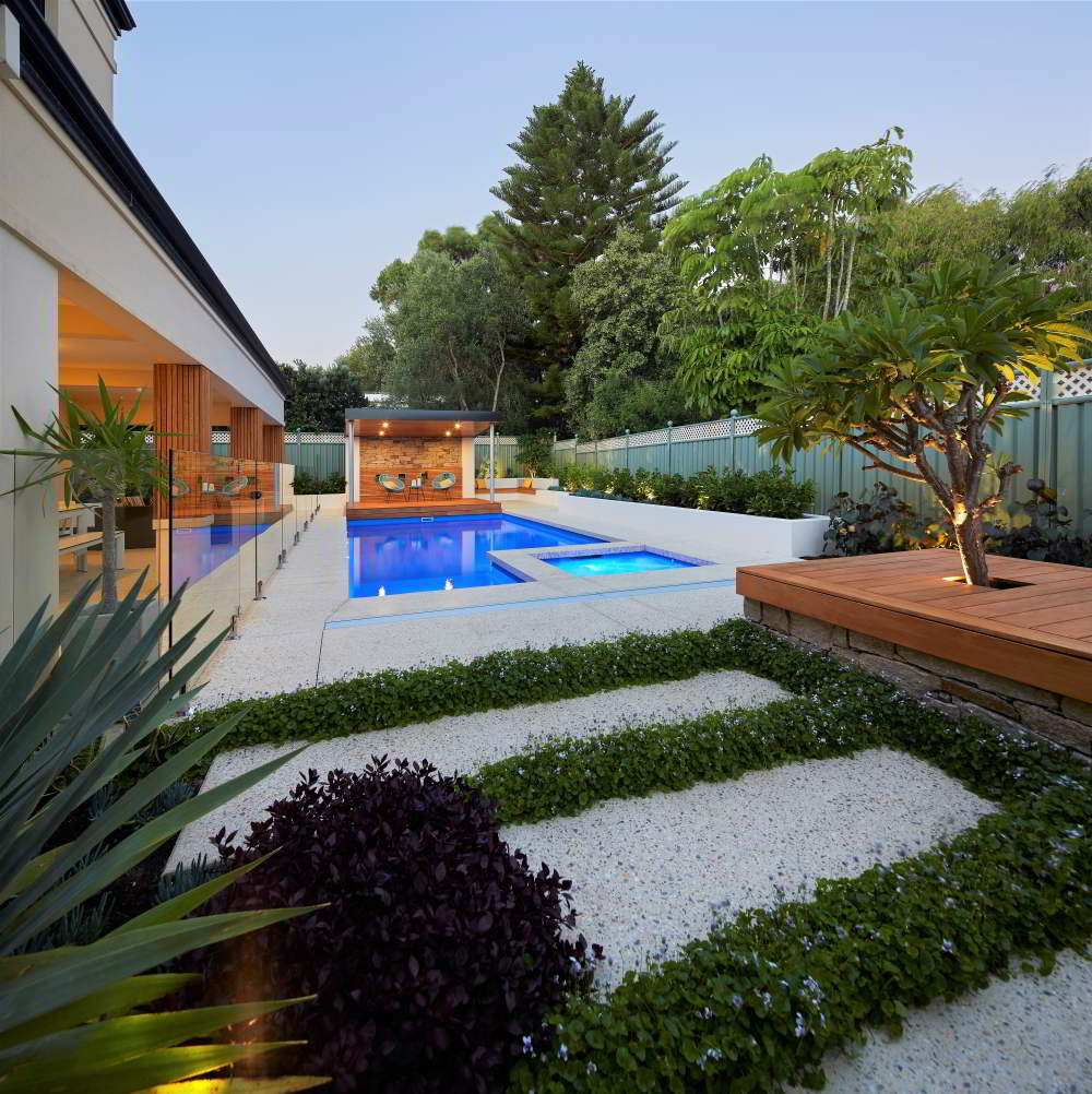 pool and landscaped garden areas