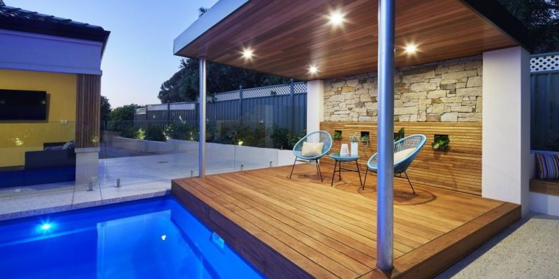 Pool Pergola with modern outdoor furnishings