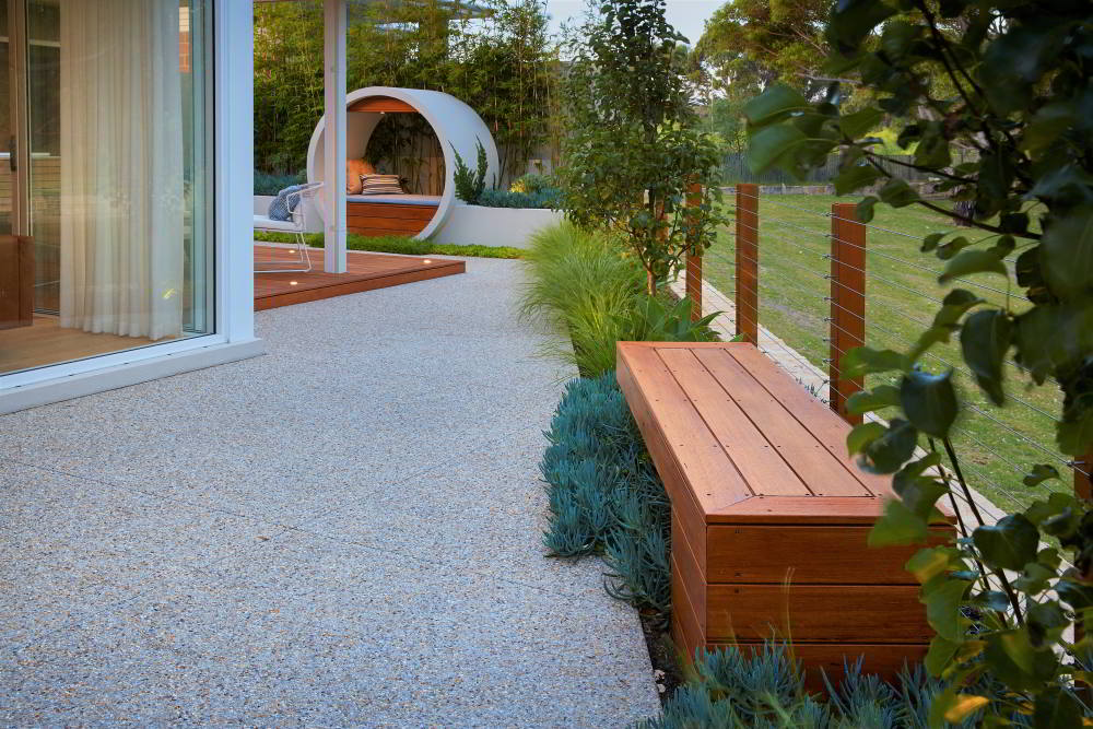 Landscaped gardens with outdoor seating